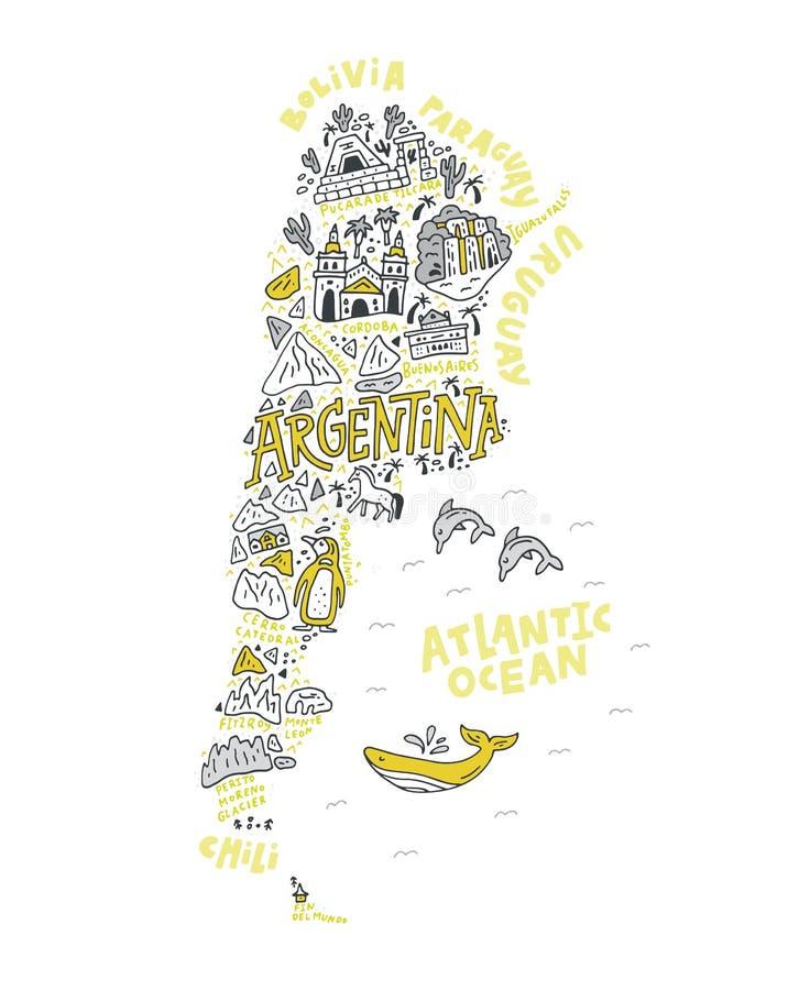 Карта шаржа Аргентины иллюстрация вектора
