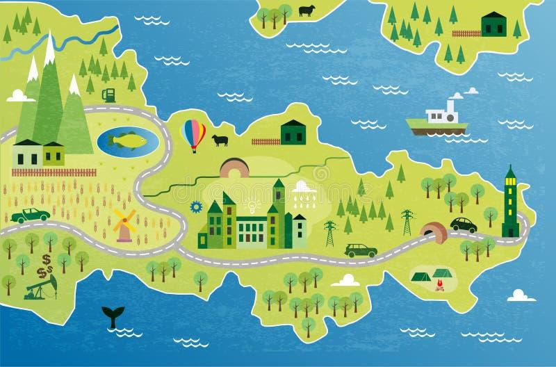 Карта шаржа иллюстрация штока
