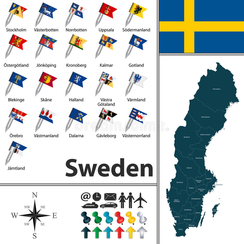 карта Швеция иллюстрация вектора