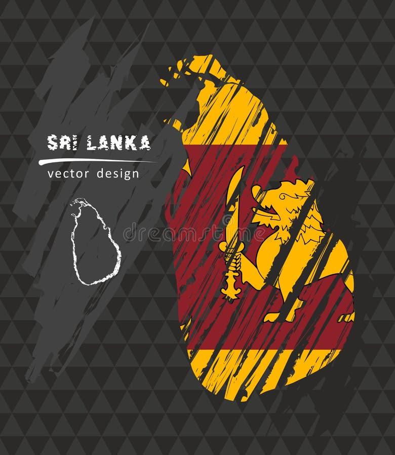 Карта Шри-Ланки с флагом внутрь на черной предпосылке Иллюстрация вектора эскиза мела бесплатная иллюстрация