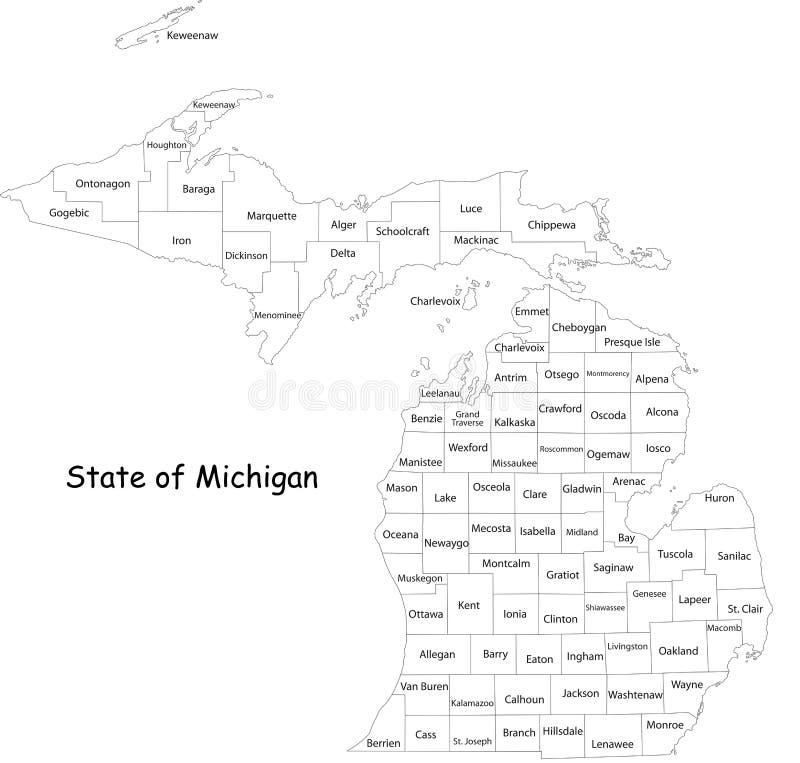 Карта штата Мичигана иллюстрация вектора