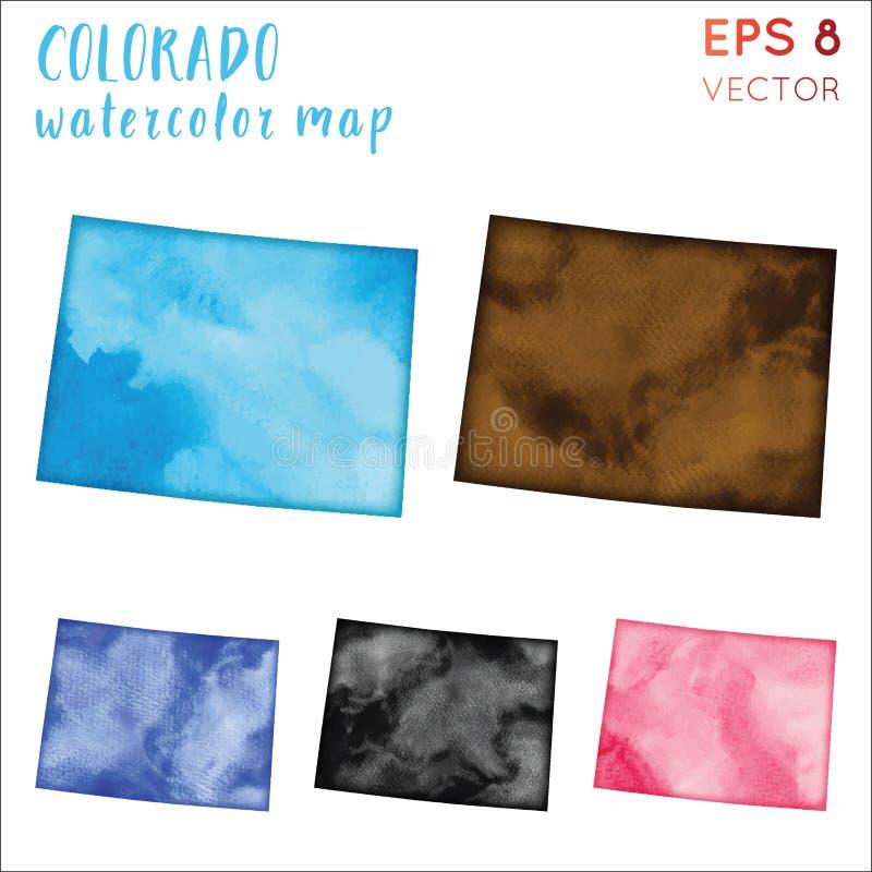 Карта штата США акварели Колорадо иллюстрация штока