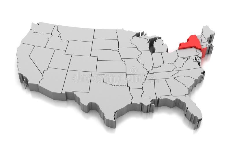 Карта штат Нью-Йорк, США иллюстрация штока