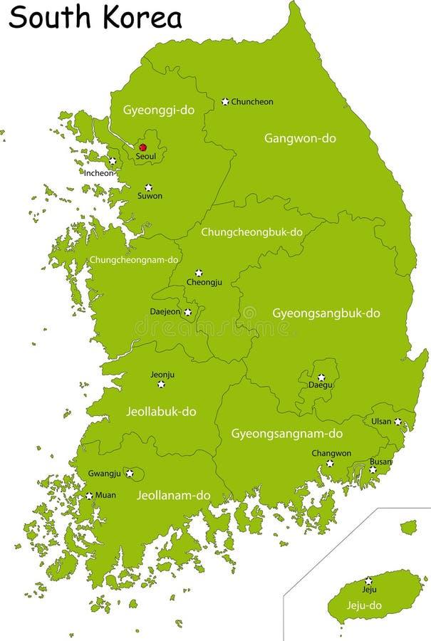 Карта Южного Кореи иллюстрация вектора