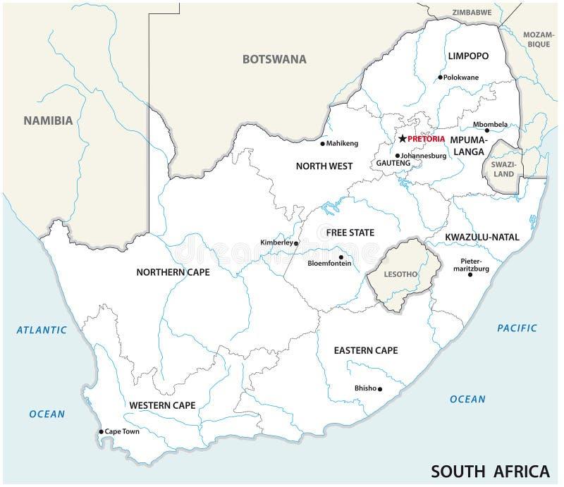 Карта Южной Африки административная и политическая вектора бесплатная иллюстрация