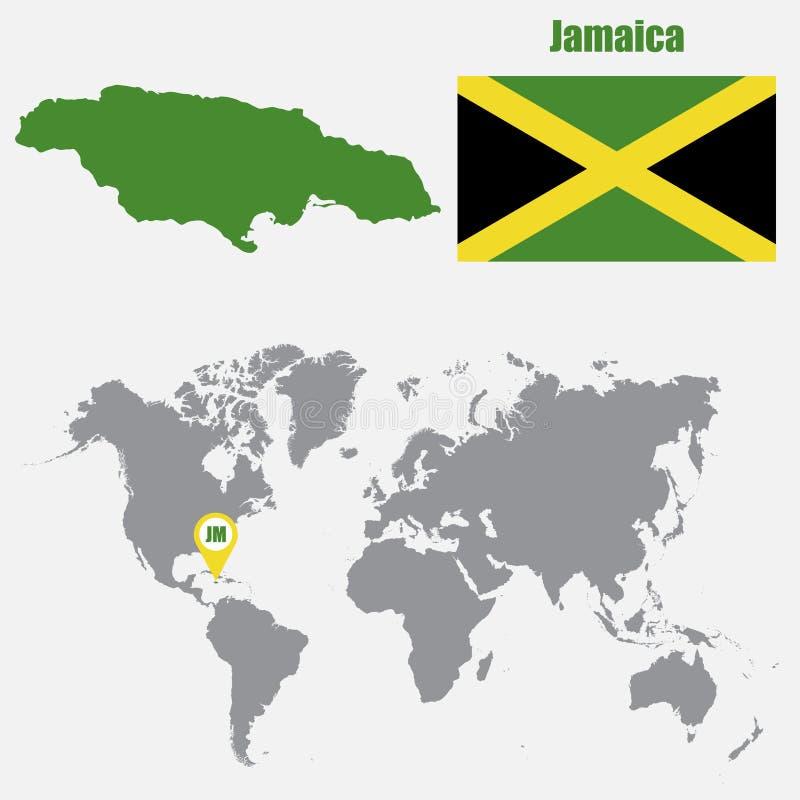Карта ямайки на карте мира с указателем флага и карты также вектор иллюстрации притяжки corel иллюстрация вектора