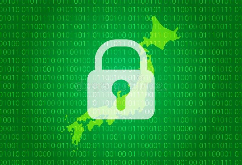 карта японии иллюстрация с предпосылкой замка и бинарного кода интернет преграждая, нападение вируса, уединение защищает иллюстрация вектора