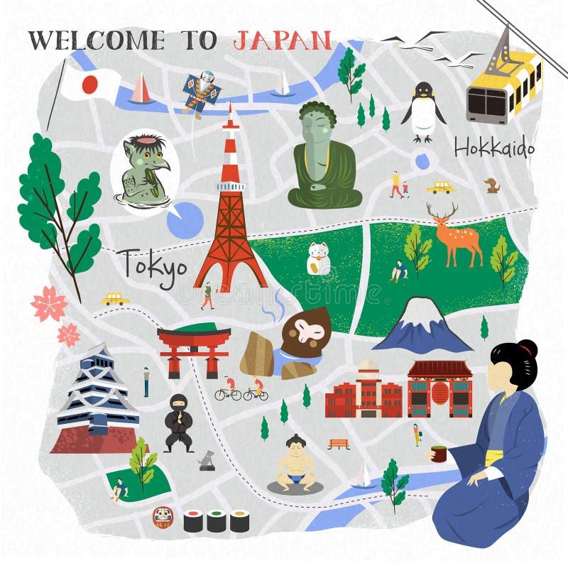 Карта Японии идя иллюстрация штока