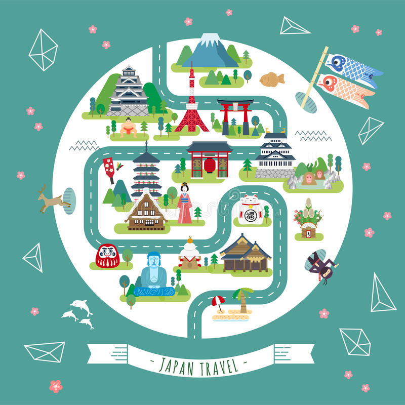 Карта Японии идя бесплатная иллюстрация