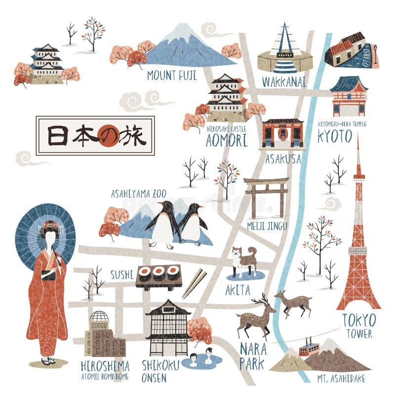 Карта Японии идя иллюстрация вектора