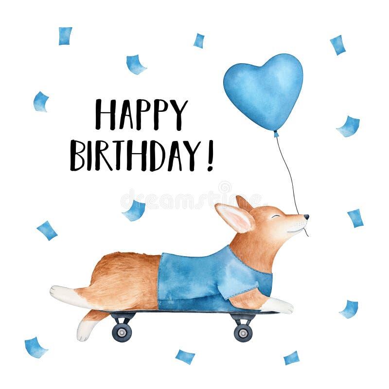 """Карта """"с днем рождений """"с скейтбордом и удержанием катания собаки corgi валийца Пембрука воздушного шара голубого сердца форменно иллюстрация штока"""