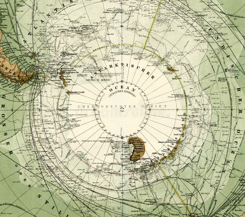 карта 1875 Антарктики античная стоковые фотографии rf