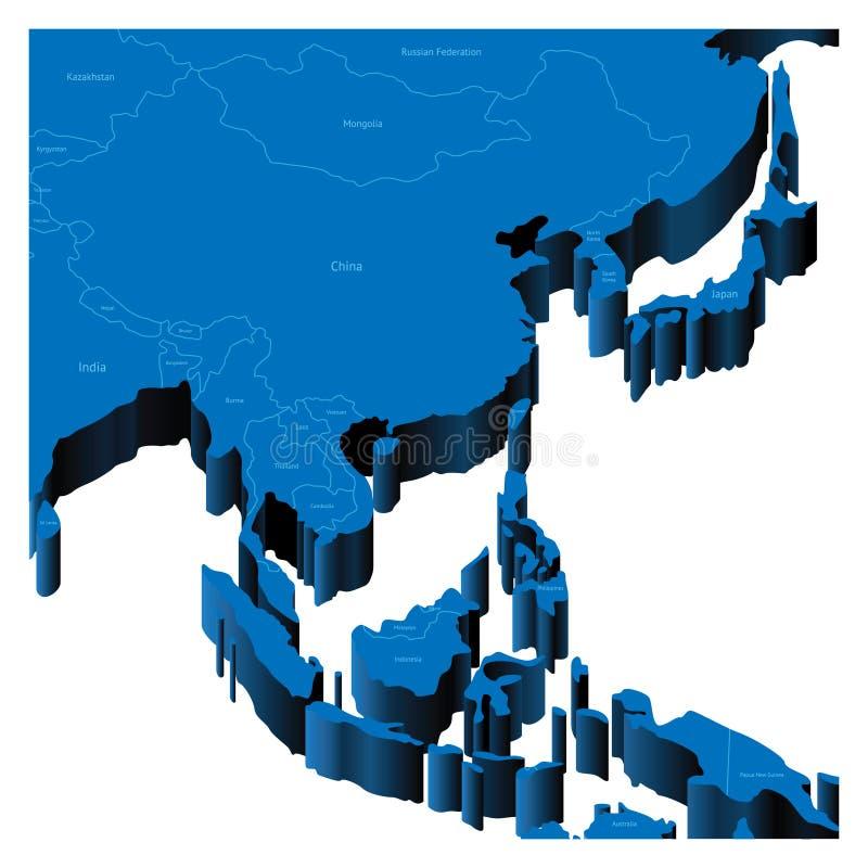 карта 3d Азии восточная южная иллюстрация вектора