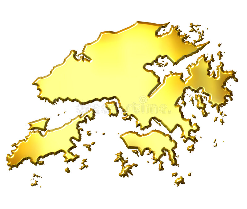 карта 3d золотистая Hong Kong иллюстрация вектора