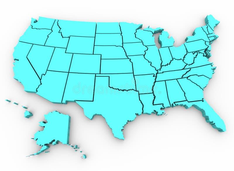 карта 3d представляет положения u s соединено бесплатная иллюстрация