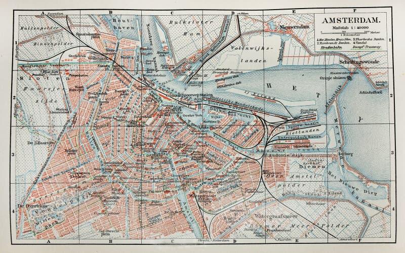 карта amsterdam старая стоковые изображения