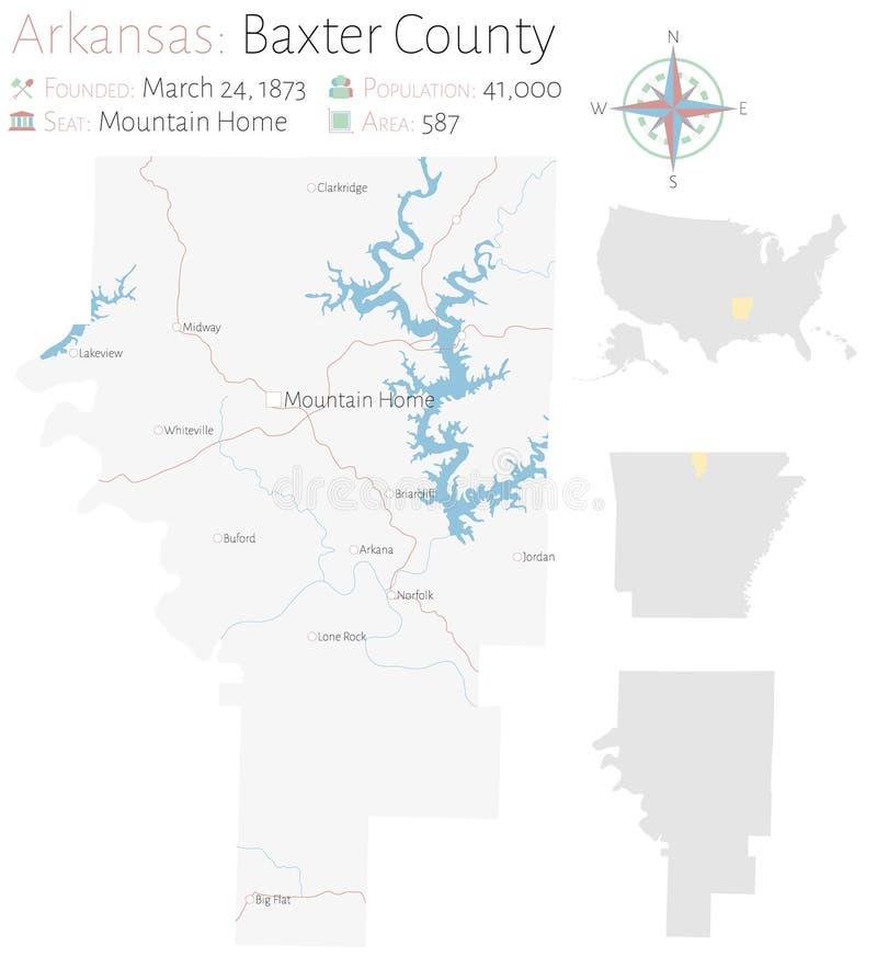 Карта Baxter County в Арканзасе иллюстрация вектора