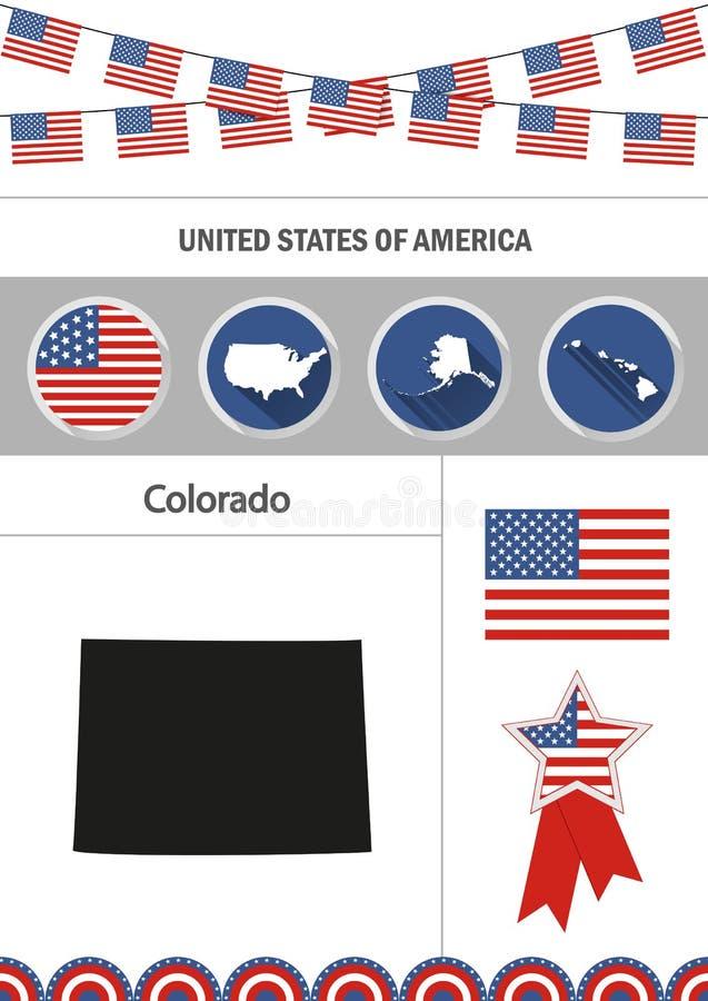 карта colorado Комплект плоских элементов w nfographics значков дизайна иллюстрация вектора