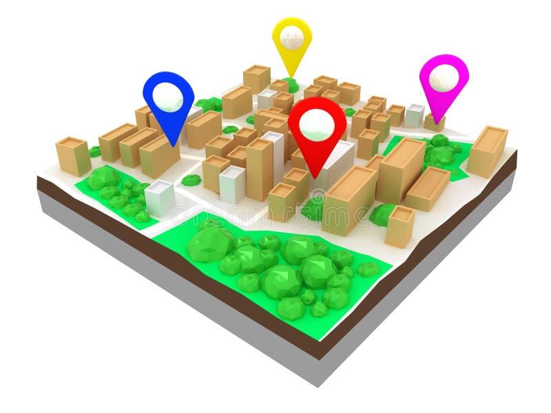 Карта 3d городка иллюстрация вектора