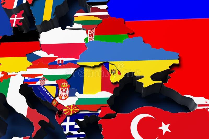 Карта 3d Европы политическая представляет иллюстрация штока