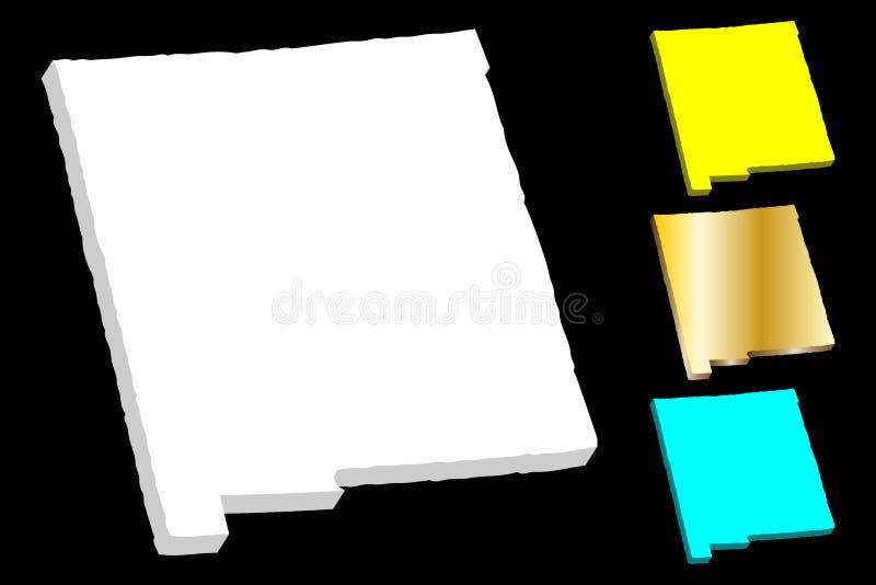 карта 3D Неш-Мексико иллюстрация штока