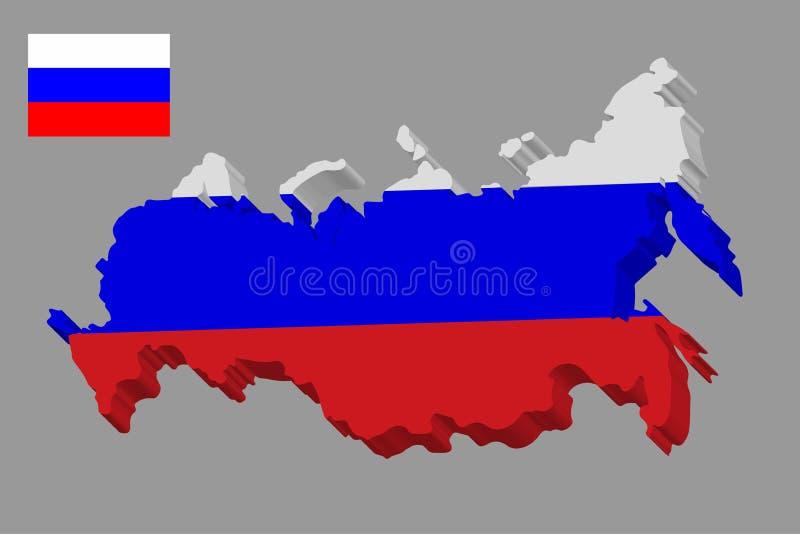 Карта 3D России в русском флаге Карта и флаг вектора Российской Федерации r иллюстрация вектора