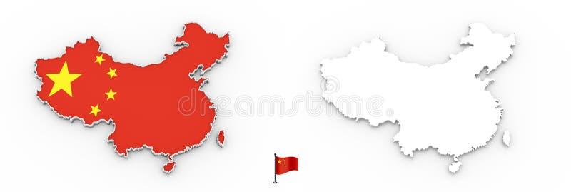 карта 3D силуэта и флага Китая белых бесплатная иллюстрация