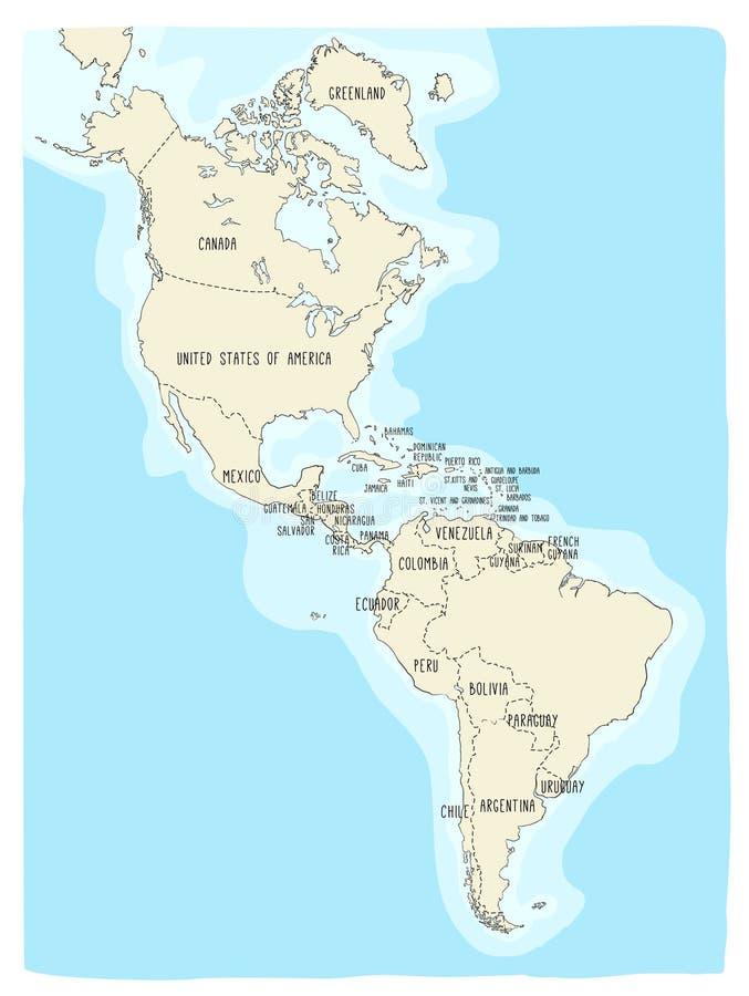Карта Doodle американского материка иллюстрация штока