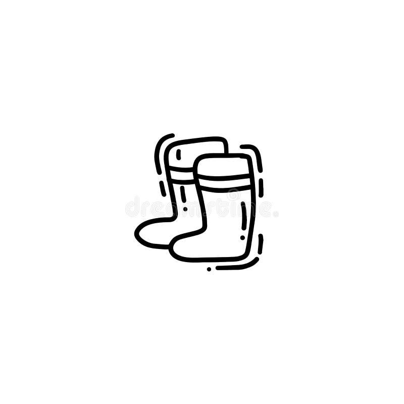 Карта doodle monoline милой руки вычерченная, открытка, крышка, знамя с садовничая резиновыми ботинками Смешной плакат на сезон с бесплатная иллюстрация