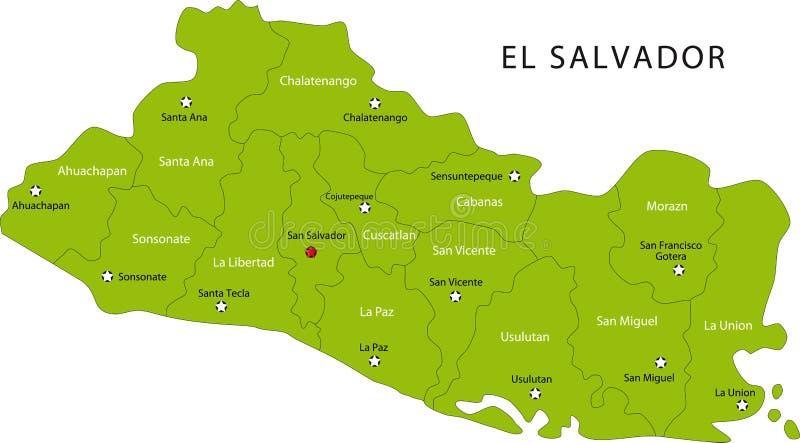 Карта El Salvador иллюстрация вектора