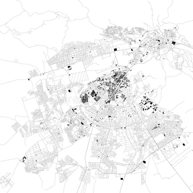 Карта Fez, Марокко, спутникового взгляда, черно-белой карты вышесказанного бесплатная иллюстрация