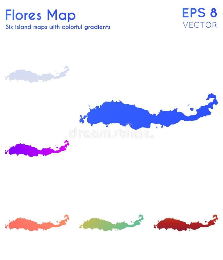 Карта Flores с красивыми градиентами иллюстрация штока
