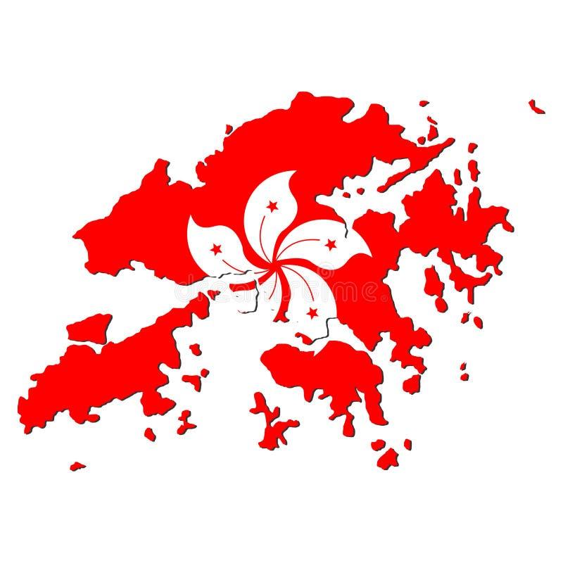 карта Hong Kong флага иллюстрация вектора