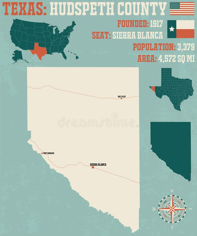 Карта Hudspeth County в Техасе иллюстрация вектора