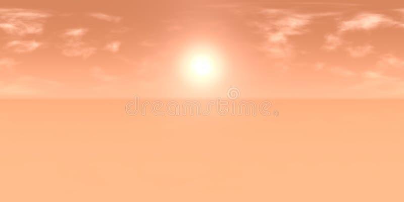 карта 10k HDRI: солнце в пасмурном красном небе над ландшафтом пустыни на карте окружающей среды разрешения планеты чужеземца выс бесплатная иллюстрация