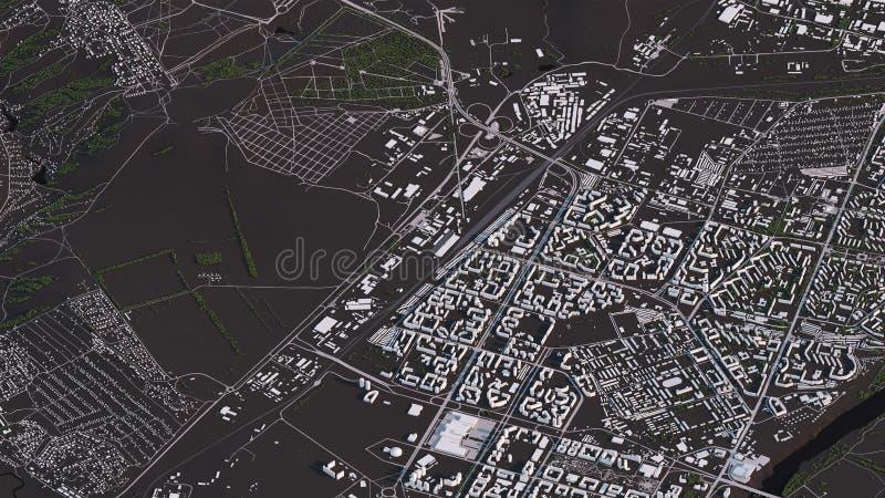 Карта Krasnoyarsk в равновеликих дорогах и зданиях ландшафта 3d иллюстрация вектора
