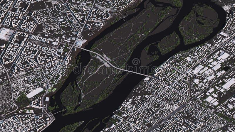 Карта Krasnoyarsk в равновеликих дорогах и зданиях ландшафта 3d иллюстрация штока