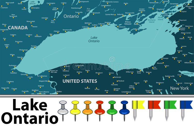 Карта Lake Ontario иллюстрация вектора