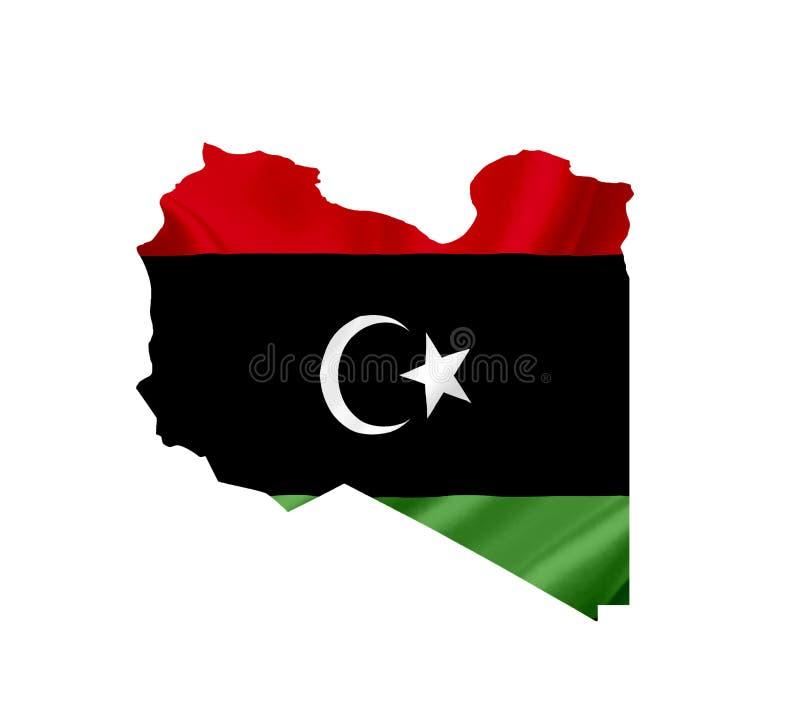 Карта Libia с развевая флагом изолированным на белизне стоковое фото
