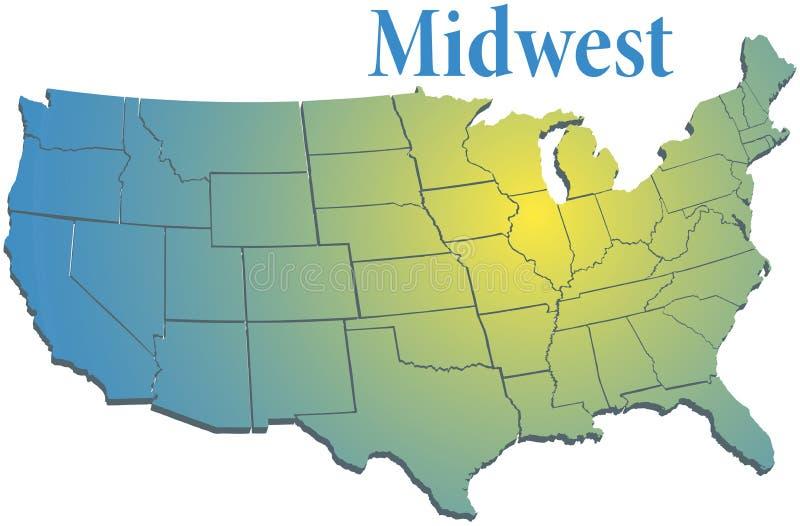 Карта MidWest штатов США региональная бесплатная иллюстрация