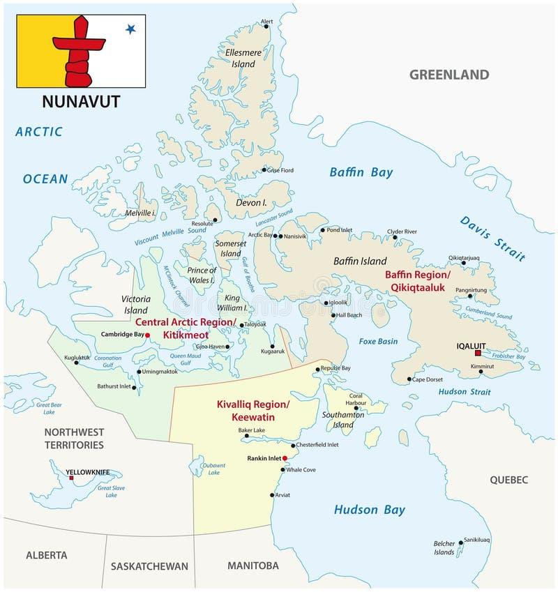 Карта Nunavut административная и политическая вектора с флагом иллюстрация вектора
