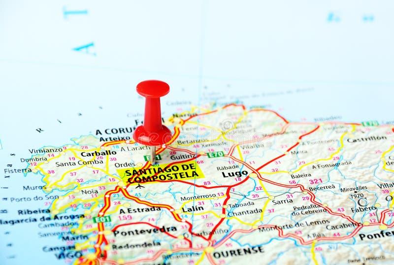 Карта Santiago de Compostela, Испании стоковое изображение