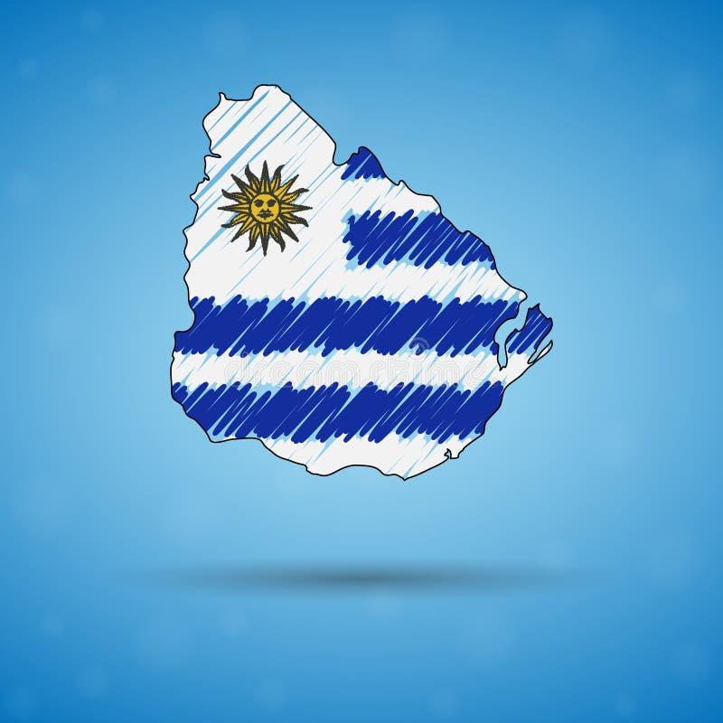 Карта Scribble Уругвая Карта страны эскиза для infographic, брошюры и представления, стилизованная карта эскиза Уругвая иллюстрация штока