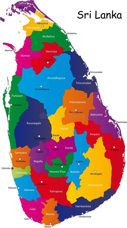 Карта Sri Lanka иллюстрация вектора