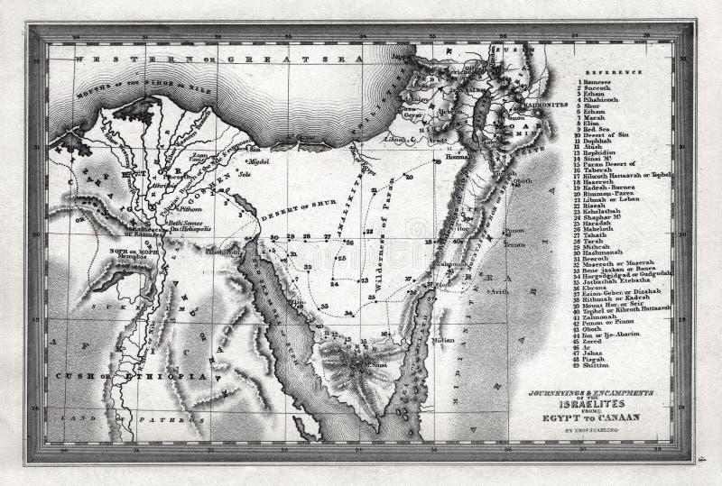 Карта 1835 Starling путешествий и разбивок лагеря израильтян от Египта к Canaan стоковые фото