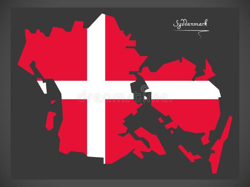 Карта Syddanmark Дании с датской иллюстрацией национального флага иллюстрация вектора