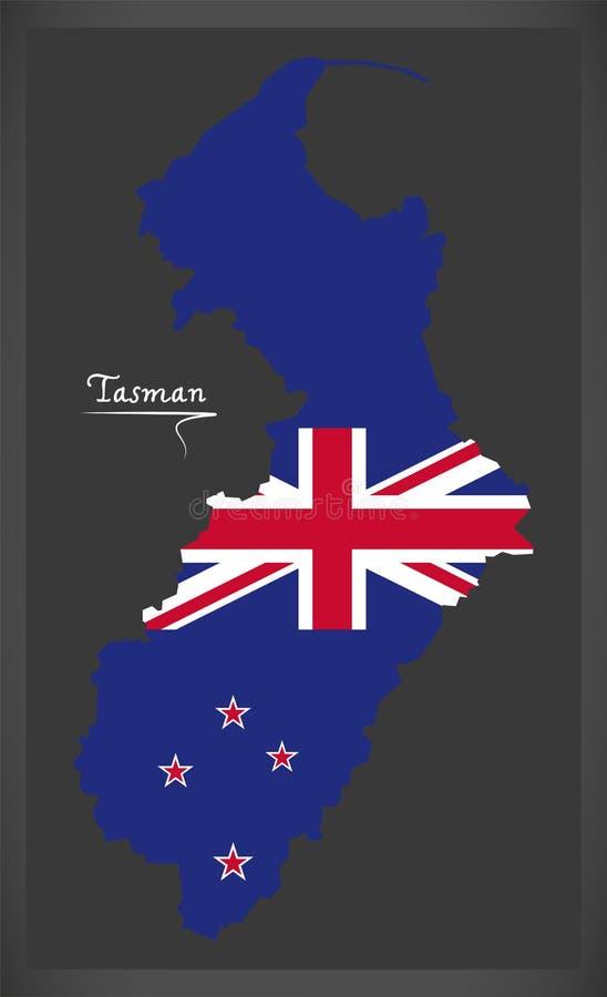 Карта Tasman Новой Зеландии с национальным флагом иллюстрация вектора