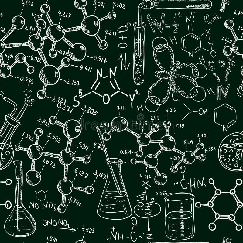 Картина лаборатории химии науки старая безшовная Стиль винтажной предпосылки вектора схематичный бесплатная иллюстрация