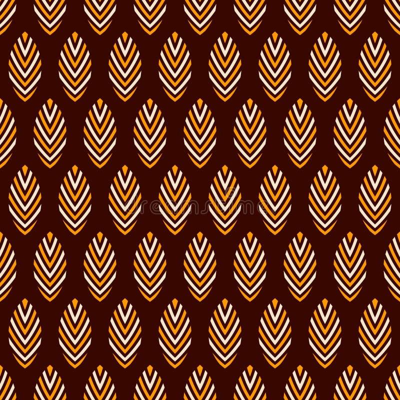 Картина абстрактного безшовного вектора орнаментальная Регулярно повторяемый беж, желтые стилизованные листья на темной коричнево иллюстрация вектора