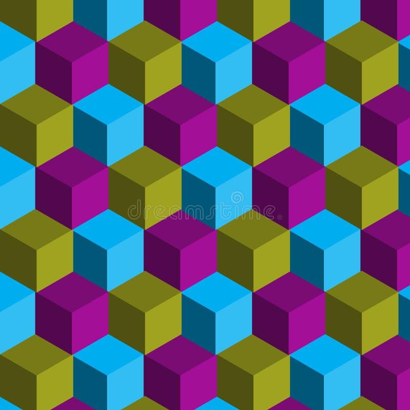 Картина абстрактного вектора безшовная красочная габаритная геометрическая с кубами иллюстрация вектора